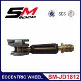 A roda excêntrica coneta o rolo excêntrico da placa