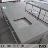 Encimera de encargo superficial sólida moderna del cuarto de baño de la talla