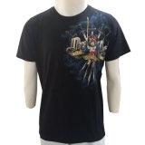 T-shirt noir fait sur commande d'impression de débit de modèle neuf direct d'usine d'OEM