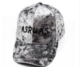 CVC sombrero de encargo del papá del terciopelo del bordado de las gorras de béisbol de la tela del terciopelo