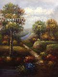 Paisaje de árboles forestales pinturas al óleo por el cuchillo petróleo pesado y efecto textural