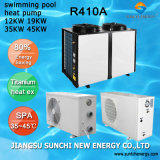 Termostato de cubo de agua de 24~239 Metros mantener 45 grados. C Titanuim 19kw/35kw/70KW105R410A kw Calentador de Agua bomba de calor de aire piscina SPA