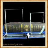 Trofeo en blanco de encargo del vidrio cristalino