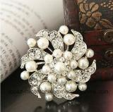 ブローチの卸し売り方法ジョーカーのダイヤモンドのラインストーンおよび真珠のブローチ(BR-19)
