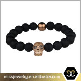 La pulsera del grano de la lava del cráneo del Mens, hombres rebordeó las pulseras Mjb022