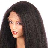 Perruque synthétique droite crépue noire normale de cheveu de densité de 180%