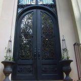 装飾的な造られたパネルが付いている円形上の両開きドア、