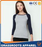 100つの綿の女性のTシャツのパッチワークの対照の袖の上