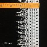 la rétro garniture de lacet de coton de 10cm a brodé les approvisionnements nuptiales Hmw6346 de tissu de lacet de mariage de Florals