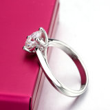은 결혼 반지를 놓는 둥근 화려한 커트 1.5 캐럿 Moissanite 다이아몬드 4 견인삭