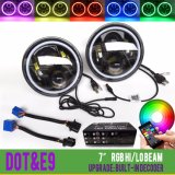 Bluetooth cuido 7pulgadas multicolor RGB Ronda Anillo Halo Angel Eyes faros LED para Jeep Wrangler