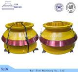 Manteau de pièces de rechange de broyeur de cône de Metso HP5 d'acier de manganèse et concave élevés