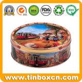 Олово печений коробки хранения еды металла круглое для упаковки подарка