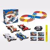 O controle elétrico do cartão de carro da velocidade do caminho de ferro da raça do entalhe caçoa brinquedos da órbita de DIY