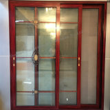 Puerta deslizante de aluminio de la doble vidriera del marco del grano de madera