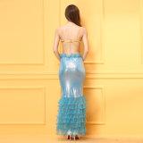 Sexy costume de danse latine bleu dentelle robe longue Soutien-gorge ensemble Lingerie Sexy Hot lingerie sexy nuisette