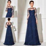 Cordón del azul de marina de las fundas y vestido de noche largos formales de la gasa