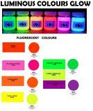Colori fluorescenti che emettono luce nel rivestimento scuro della polvere