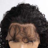 도매 인도 비꼬인 꼬부라진 130% 조밀도 사람의 모발 가득 차있는 레이스 가발