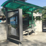 Muebles de metal de acero de la calle refugio de parada de autobús Caja de luz de la publicidad