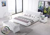 最もよい販売法の木の白革のダブル・ベッド