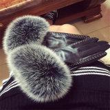 La moda Guantes de cuero de oveja con piel de conejo