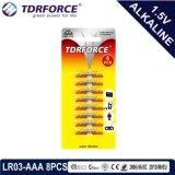 batteria a secco della Cina di fabbricazione Non-Rechargeable 1.5volt con l'iso 8pack approvato 5 anni di durata a magazzino Lr03/Am-4