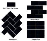 tegels van de Metro van 3*6inch/7.5*15cm de Zwarte Glanzende Afgeschuinde voor de Decoratie van de Badkamers en van de Keuken
