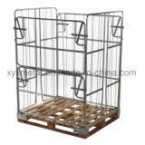 倉庫の貯蔵容器のパレットのための折りたたみ鋼線の網のケージ