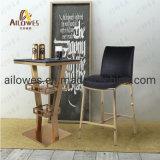 Sala de estar Mobiliário metálico cor dourada de Aço Inoxidável Barra Grande conjunto de mesa
