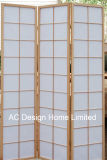 自然なカラー安いライスペーパーのNon-Wovenおよび木の日本様式の折る障子スクリーン部屋ディバイダXの3パネル