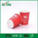 Copo de café superior descartável do papel de qualidade do copo vermelho da ondinha com tampa