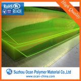 folha fluorescente desobstruída transparente dura do plástico do PVC do amarelo de 1mm