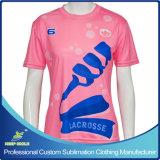 Tiro de manga curta de Lacrosse para menina Sublimation personalizado