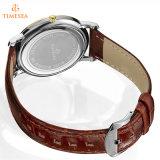 Kundenspezifischer Firmenzeichen-Großverkauf-reale lederne Brücke-Mann-Uhr, Uhr 72812 der heißen Verkaufs-Form-Männer