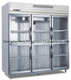 Réfrigérateur droit commercial d'acier inoxydable de cuisine avec du ce