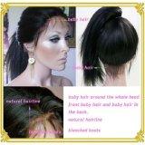 Прямая полных париков человеческих волос фронта шнурка естественная