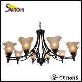 6 helle traditionelle Leuchter, antikes schwarzes Eisen-hängende Beleuchtung
