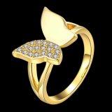 나비 모양 다이아몬드 여자 반지 로즈 금이 지르콘 합금 열리는 반지를 도금했다