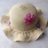 100% бумаги соломенной шляпе, Мода Стиль Falbala с накладными цветами и Тюль Украшение для детей
