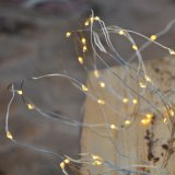 Low Voltage Powered Silver Wire Waterfall Copper String Lights 5 Branch 100 LED