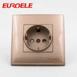 Boa marca Gold Color PC 1 Gang Schuko Socket