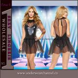 セクシーな透過熱い女性セクシーなPUの革ランジェリーの服(TLQZ11429)
