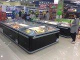 Congélateur indépendant d'île de premier supermarché de porte coulissante