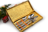 Acier inoxydable réglé de miroir de polonais de couverts élevés d'or