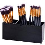 Doos van de Organisator van de Houder van de Borstel van de Make-up van de douane de Zwarte Acryl met 3 Groeven