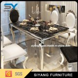 6 Seaterのためのステンレス鋼の家具の大理石表のダイニングテーブル