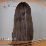 Peluca judía superior de seda de la Virgen de Remy del pelo del color completo de Brown