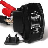 Carregador duplo impermeável do USB do carro do diodo emissor de luz para o painel do interruptor de balancim