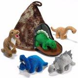 Casa del volcán del dinosaurio de la felpa con el juguete del dinosaurio de la felpa